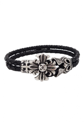Jaysa Collection black Stainless Steel Emblem Cross Leather Bracelet JA875AC59ZRWSG_1