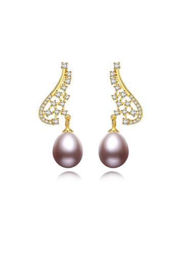 SUNRAIS gold Premium color stone golden flower earrings 1DC0CACCF413C7GS_1