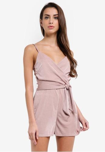 Miss Selfridge pink Tie Waist Slinky Playsuit 94880AA7B736CFGS_1