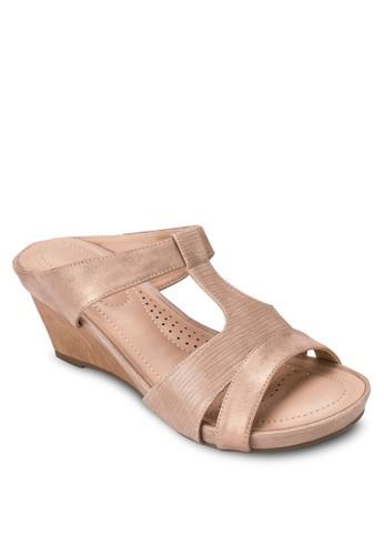 T字帶楔形涼鞋, 女鞋, 楔形涼esprit home 台灣鞋