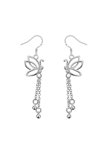 Treasure by B & D silver Treasure by B&D E003 Elegant Zircon Inlayed Long Tassel Butterfly Dangle Earrings TR022AC79XPGPH_1