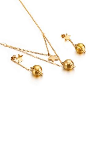 Glamorousky 銀色 簡約創意鍍金色星星圓球316L鋼項鏈和耳環套裝 B61F8AC0648B4CGS_1