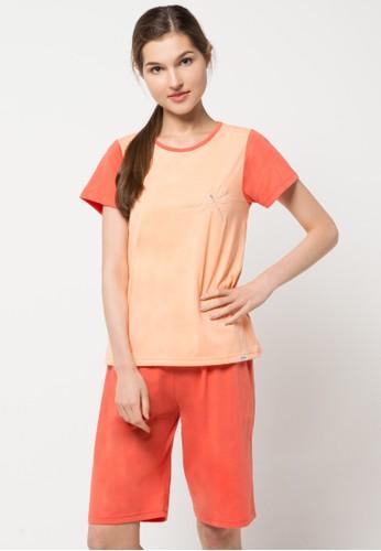 Puppy orange Short Sleeve, Short Pants Print Dragon Fly PU643AA46LVXID_1