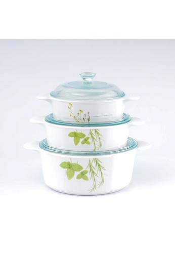 Corningware white Corningware 6pcs Round Casserole Set with Glass Cover - European Herbs EAF51HLEA97D72GS_1