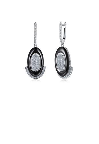 Glamorousky white 925 Sterling Silve Simple Elegant Noble Romantic Geometric Oval Circle Black Ceramic Earrings with Cubic Zircon E0393ACF02D14DGS_1