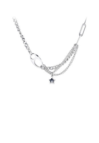Glamorousky silver Simple and Creative Star 316L Stainless Steel Necklace ACA1DAC1EA40EDGS_1