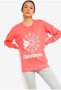 458c79a32e88b Reebok pink Classics French Terry Big Logo Crew Sweatshirt  99C2EAAE6E6CA9GS 1