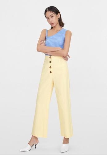 Pomelo beige Front Button Wide Leg Pants - Beige C2B16AA49B3070GS_1