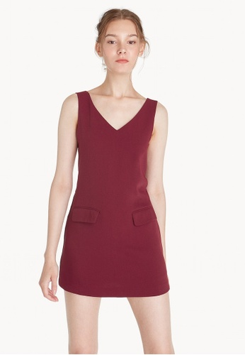 Pomelo red Mini V Neck Front Pocket Dress - Red E0DFBAA69586D0GS_1