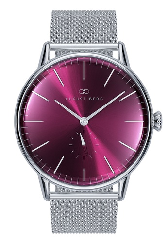August Berg red SERENITY BURGUNDY Silver Classic eye Silver Mesh 40mm BFED0AC201656FGS_1