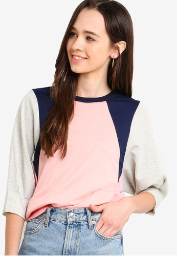 Something Borrowed pink Colorblock Balloon Sleeves Sweater 46A17AAF476768GS_1