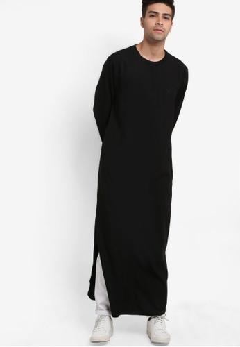 Rizalman for Zalora black Jaadar Long Polo Shirt RI909AA67XIIMY_1