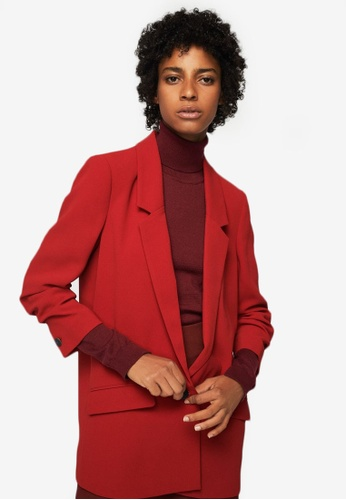 Mango red Ruched Sleeves Blazer MA193AA0ROP2MY_1