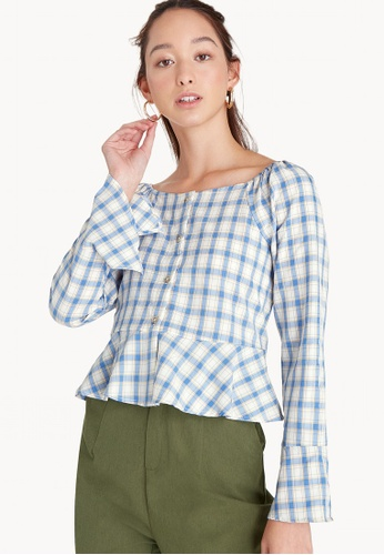 Pomelo blue Off Shoulder Flare Checkered Top - Blue 0E26AAAD8AB9FEGS_1