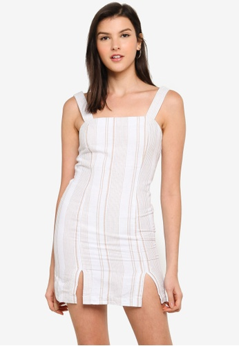 FOREVER 21 white Striped Double Notched Dress 6E6CDAA5E50DD3GS_1