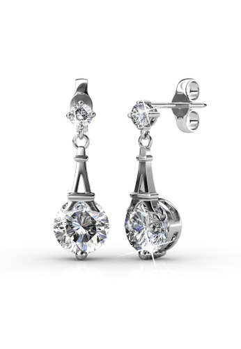 Her Jewellery silver Paris Earrings (White Gold) - Made with premium grade crystals from Austria HE210AC0FSTESG_1