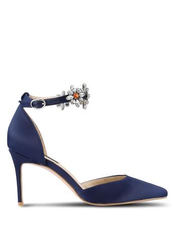 ZALORA 海軍藍色 新年系列 水鑽繞踝尖頭高跟鞋 18B7EZZD8CC4CEGS_1