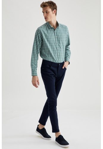 DeFacto navy Slim Chino Trousers 76CE4AA8D2A00AGS_1
