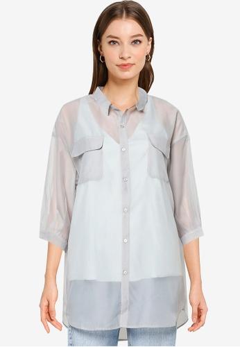 Heather grey Woven Shirt 7B329AA5B711DCGS_1