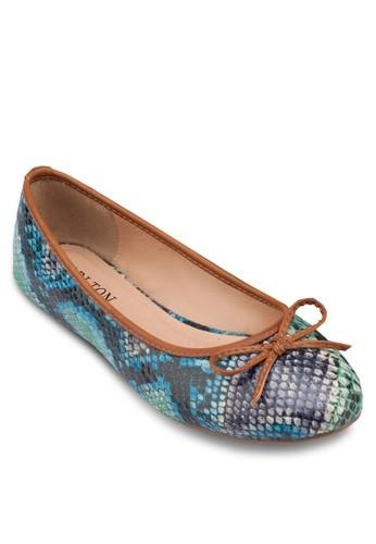 esprit taiwan彩色蛇紋平底鞋, 女鞋, 鞋