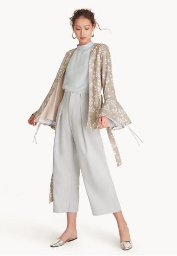 Pomelo beige Bell Sleeve Wrap Kimono - Beige 9663BAAFEAE8B2GS_1