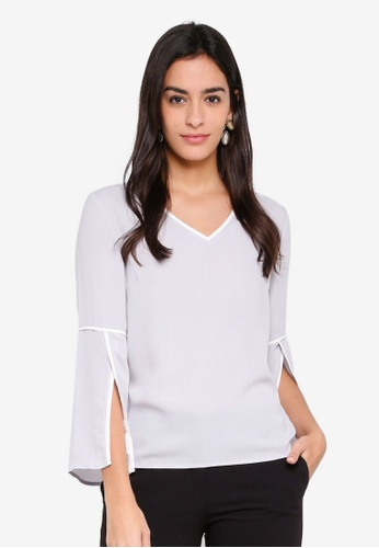 ZALORA white and blue Open Sleeves V-Neck Top 745C8AA4B2FC9DGS_1