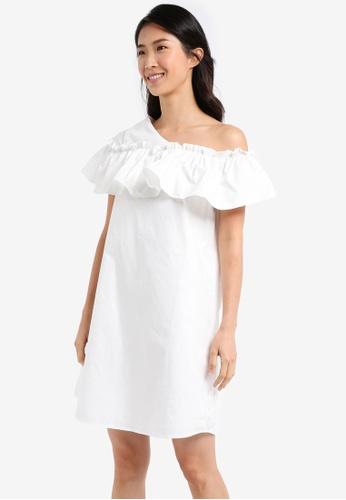 ZALORA white Off Shoulder Ruffle A Line Dress 3E0DDAA5AA1525GS_1