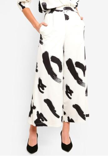 Megane white Best Frenz Nadie Printed Wide Leg Pants F0842AA3088809GS_1
