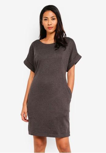 UniqTee grey Drape Dress with Pockets EB9D5AA42F0B84GS_1
