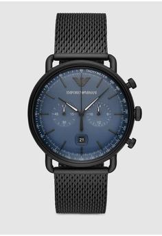 5a19b0d17f Emporio Armani black Aviator Watch AR11201 55D7CACD209E5CGS 1