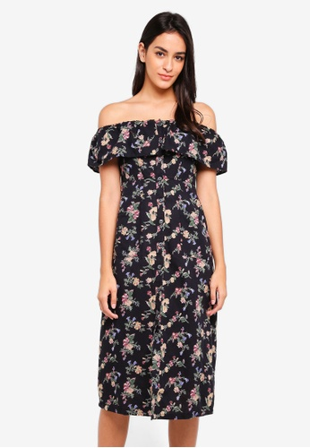 TOPSHOP black Petite Printed Bardot Midi Dress E274FAA024B103GS_1