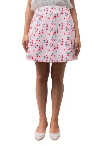 L'zzie pink MICKEY RED FLORAL SKIRT - PINK 90958AA6F5789CGS_1