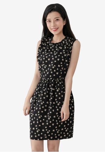 Eyescream black Pleat Collar Printed Dress 8D7AEAA1A1FD98GS_1