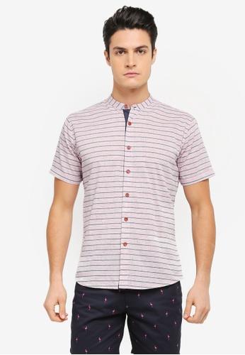 JAXON red and multi and navy Nautical Stripe Short Sleeves Shirt B102DAA3976EAFGS_1