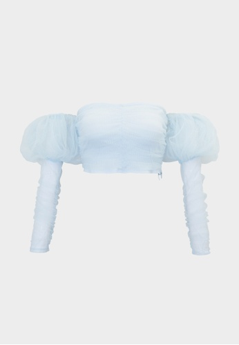 Pomelo blue Sheer Mesh Puffed Sleeves Top - Baby Blue 8234DAA9950474GS_1