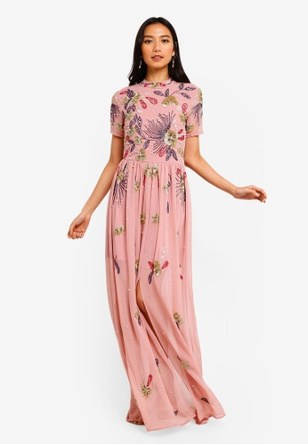 72a380e6ea Frock and Frill pink Floral Embellished Maxi Dress E9878AA9FE4859GS_1