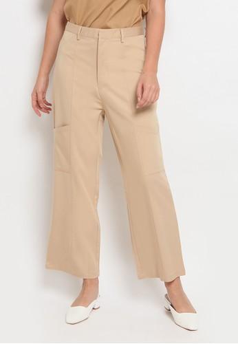 The Executive beige Flat Pocket Pants 1A9E5AAAFA67C7GS_1