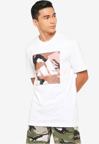 ADIDAS 白色 athletics 印花T恤 AB2DEAAC4348B0GS_1
