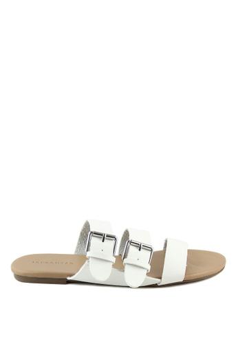 London Rag 白色 白色多扣平底托凉鞋 E320ASH12B5550GS_1