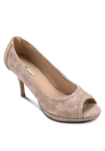 仿蛇紋露趾高跟esprit地址鞋, 女鞋, 中跟