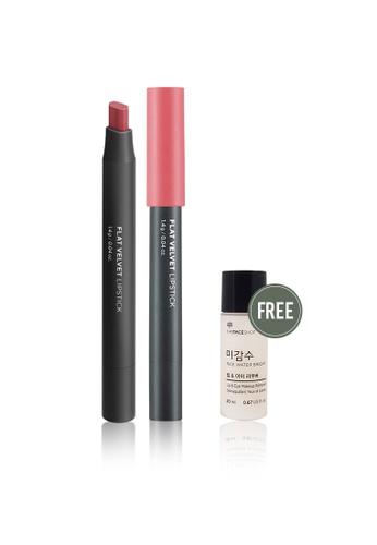 THE FACE SHOP pink Flat Velvet Lipstick Pk01 Rose Pink A310BBE528D54EGS_1