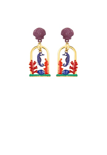 Glamorousky silver Fashion Personality Plated Gold Enamel Seahorse Coral Earrings 4C419AC59834BBGS_1