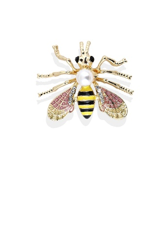 Glamorousky white Simple and Lovely Plated Gold Color Bee Imitation Pearl Brooch with Cubic Zirconia C6D2FACFD102A5GS_1