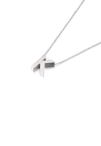 Glamorousky silver Simple Temperament English Alphabet K 316L Stainless Steel Pendant with Necklace FAD42ACDF85701GS_1