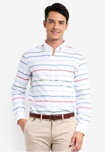 Brooks Brothers 白色 長袖條紋襯衫 67FABAA602FEB2GS_1