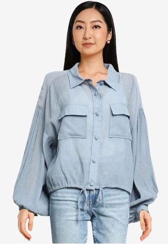 Heather blue Texture Drawstring Shirt C55D6AA0051B58GS_1