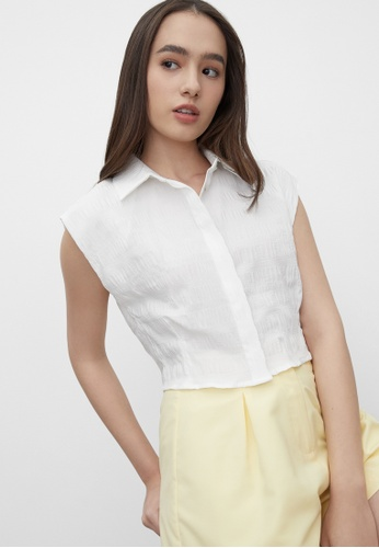 Pomelo white Cropped Texture Button Up Top - White B2BE2AAF7AB9DFGS_1