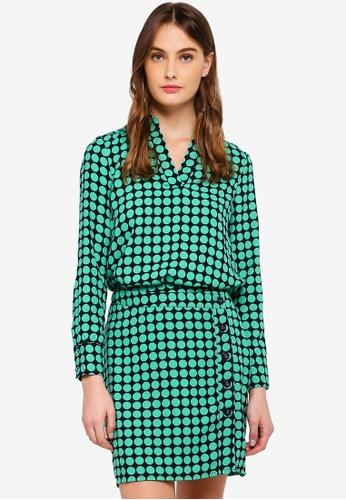 Vero Moda green Sarah Dot Midi Top B2F16AA1EE09D2GS_1