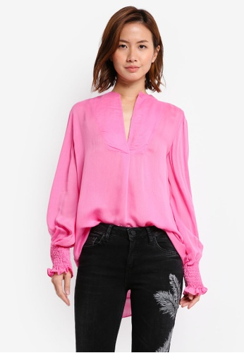 Mango pink Ruched Sleeve Blouse MA193AA0T0Y5MY_1