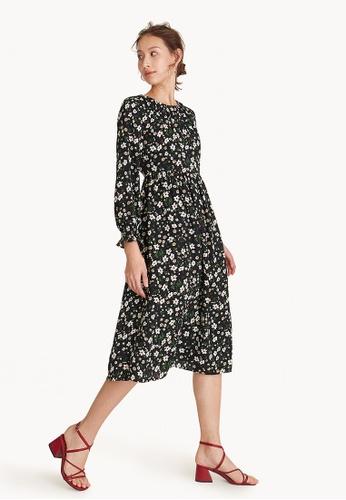Buy Pomelo Midi Long Sleeve Floral Dress - Black Online on ZALORA Singapore c413470ef